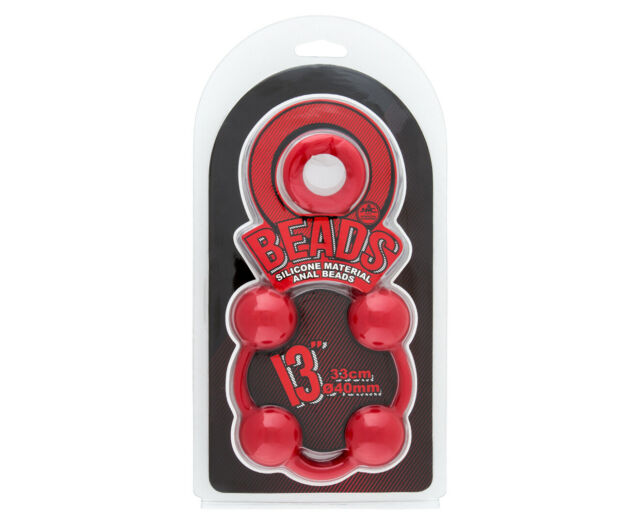 """Excellent Power 13"""" O Beads Adult Silicone Anal/Butt Soft Plug Sex Play Toy Red"""