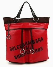 "DOLCE & GABBANA ""ITALIA SUMMER 2003"" LARGE RED VINYL BROWN CANVAS TOTE HAND BAG"