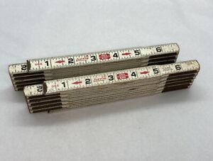 Lot-Of-2-Vintage-066-Lufkin-Red-End-Folding-Wooden-Ruler-w-Metal-Lock-Joints