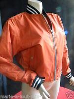 Liberto Vintage Neuf Blouson Teddy Orange Col Poignet Raye Rare Jack Silver 38 M