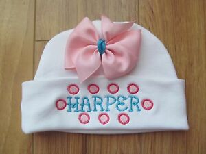 PERSONALIZED MONOGRAM CUSTOM Baby Newborn Hospital Hat Cap Beanie Pink Green Bow