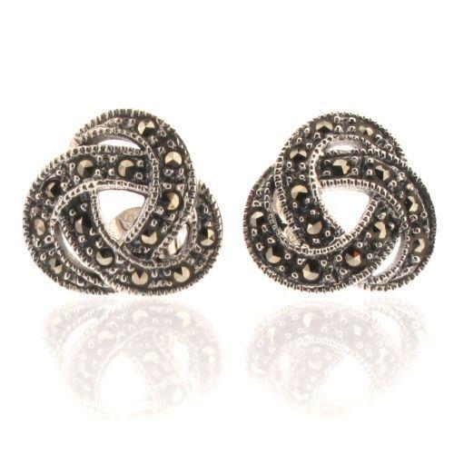 Ohrstecker Ohrringe Sterling Silber 925 mit Markasit Keltischer Knoten