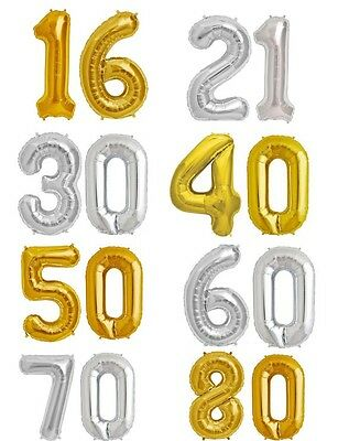 """Milestone Number Balloons 16"""" 40/"""" Foil GOLD SILVER 16th 21st 30th 40th 50h 60th"""