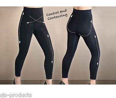 SEAMLESS CONTROL LEGGINGS High Waist Full Length Slimming Black Size 8 to 26 NEW