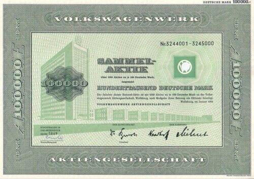 Besondere Wolfsburger Geschenkideen: Sammel-Aktie, VW Volkswagen AG, 100.000 DM Wolfsburg, 1961