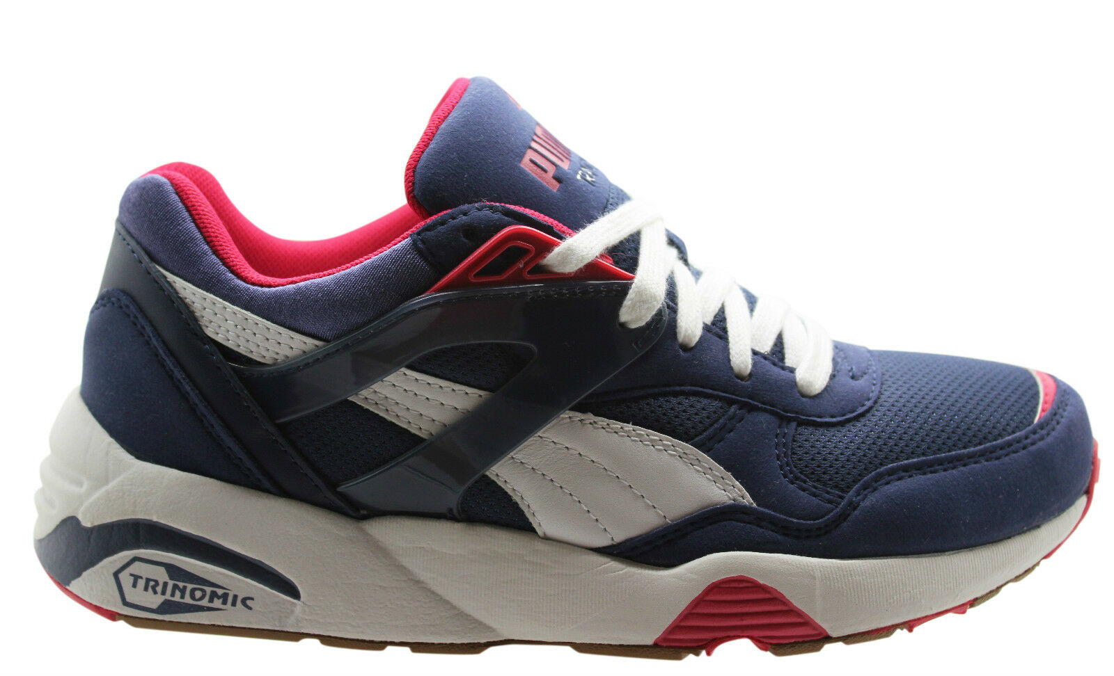 Puma R698 Basic Sport Womens Lace Up Trainers Navy Blue White 358068 02 D26