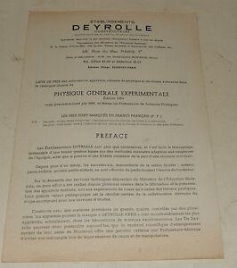 Ancien Dépliant Deyrolle 1954 : Physique Générale Experimentale 12 Pages Prix De Vente