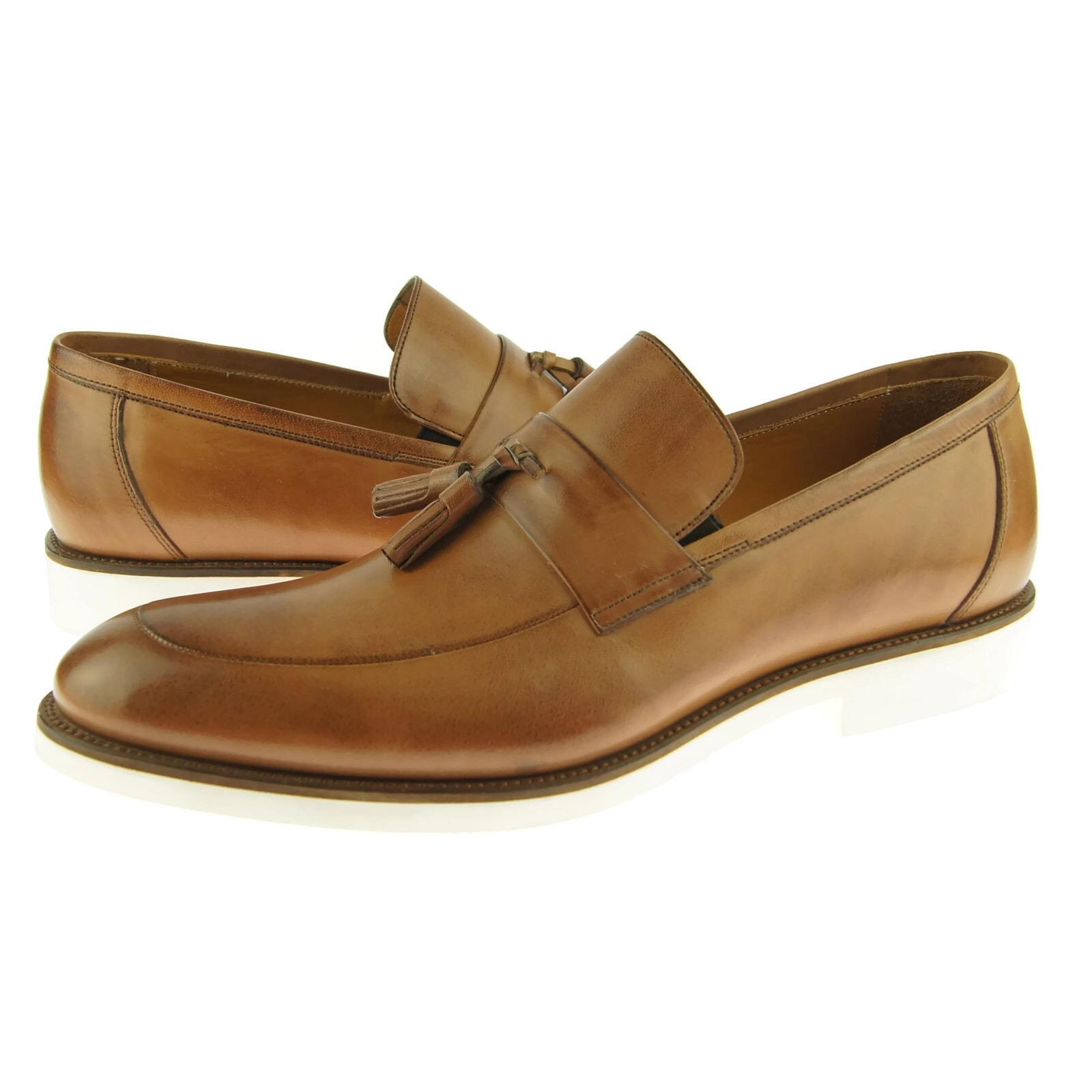Alex D  Scottsdale  Tassel Loafer, Men's Dress Casual Leather shoes, Cognac
