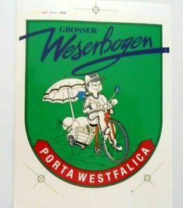 Souvenir-Aufkleber Large Weserbogen Porta Westfalica Radwandern Camping 80er