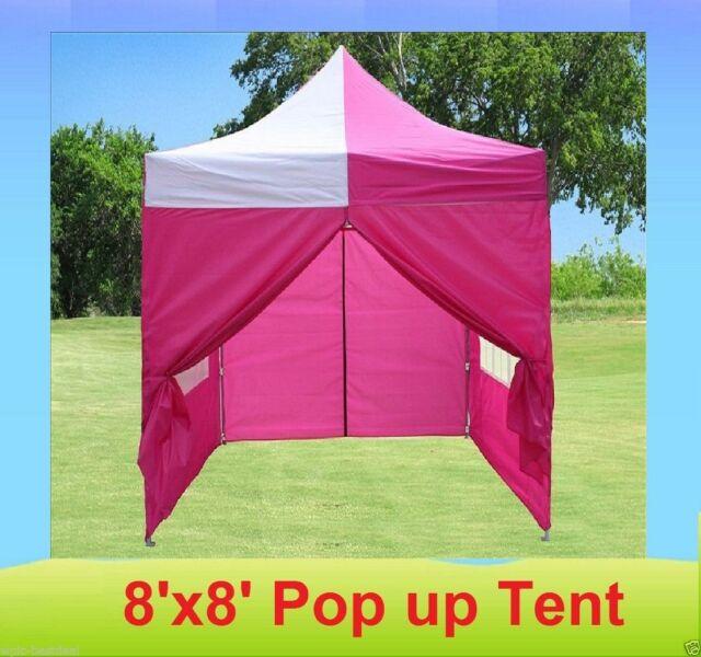 buy popular 51e7b 07d25 8' x 8' Pop Up 4 Wall Canopy Party Tent Gazebo EZ - Pink White