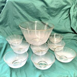 Retro Frosted Gold Trim Glass Salad Bowl Set One Large 8 Small Bowls