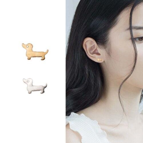 Vintage Hippie Tiny Dachshund Dog Stud Earring Dog Love  Women Jewelry Earrings