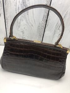 Vtg-1950s-Brown-Patent-Alligator-Hand-Bag-Purse-Made-in-France-for-Coblentz