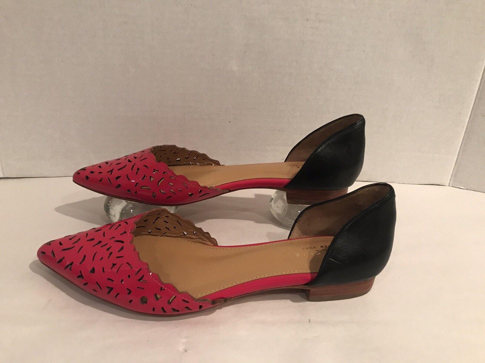 scegli il tuo preferito Cecelia New York York York Dorsay Heels 9.5 nero Leather Laser Cut Scalloped Career  autorizzazione