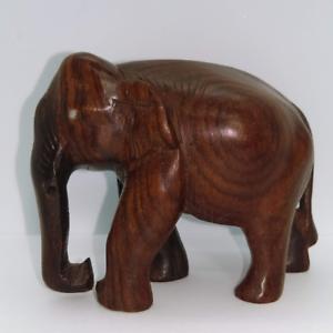Elephant Hand Carved Wood Elephant Dark Ebony? Trunk Down Realistic Wooden VTG