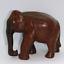thumbnail 1 - Elephant Hand Carved Wood Elephant Dark Ebony? Trunk Down Realistic Wooden VTG