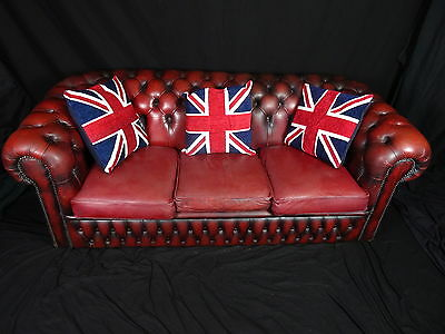 Fine Handmade Chesterfield Style 3 Seater Oxblood Red Leather Sofa 20th Century