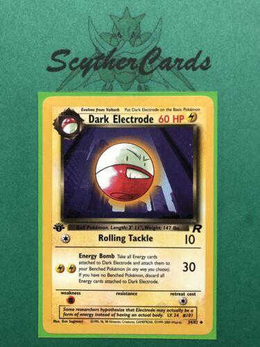 English 34//82 NM Dark Electrode 1st Edition Team Rocket Pokemon Card Sleeve