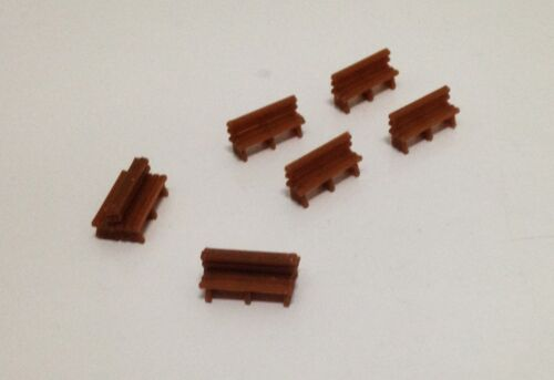 Station HO Scale Outland Models Railway Classic Wood Style Bench x8 for Park