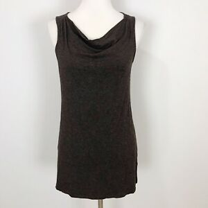 EILEEN-FISHER-Women-s-XS-Brown-Soft-Knit-TANK-TOP-Cowl-Neck-Stretchy