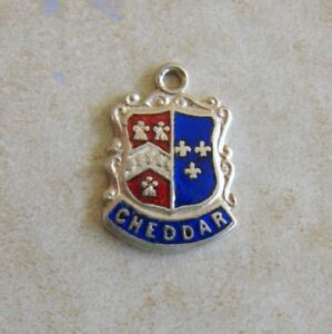 Cheddar-England-Silver-Enamel-Travel-Shield-Bracelet-Charm-Vintage