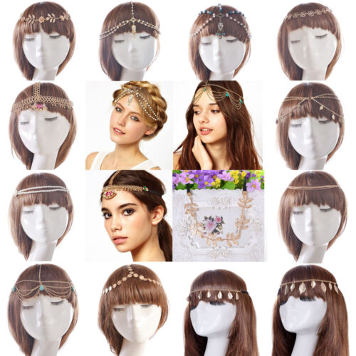 Boho Fashion Women Gold Alloy Pendant Head Chain Headpiece Hair Band Jewelry