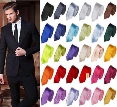 Men Skinny Slim Tie Solid Plain Silk Jacquard Woven Party/&Wedding Necktie