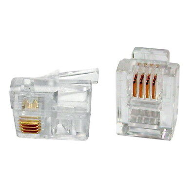 10pcs 6p4c 6-pins 4-contacts Rj14 Telephone Modular Plug Jack Rj14 Connector To Win Warm Praise From Customers Computers/tablets & Networking