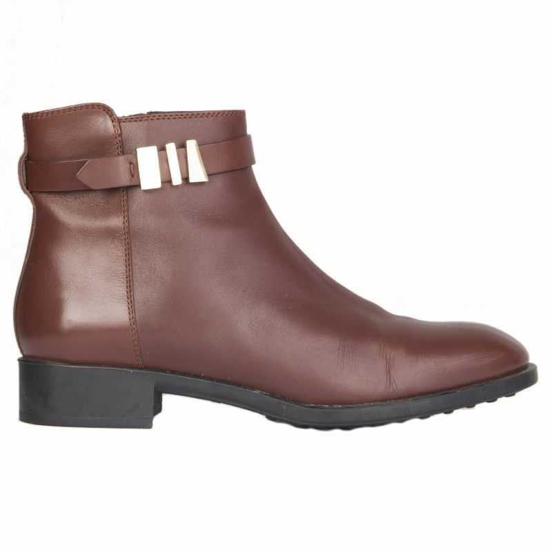 54535 auth TOD'S cognac brown leather Flat Ankle Boots Shoes 38.5