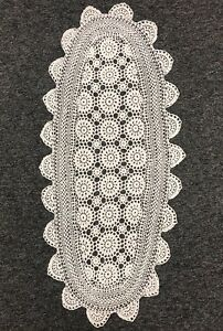 100-Cotton-White-Color-Handmade-Crochet-Lace-15x33-034-Table-Runner-Placemat-Oval