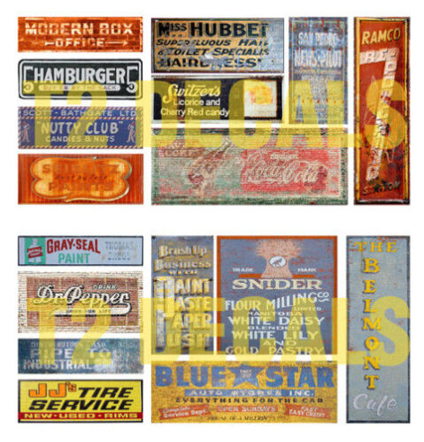HO Scale Ghost Sign 2-Pack #4 Great for Weathering Buildings /& Structures!