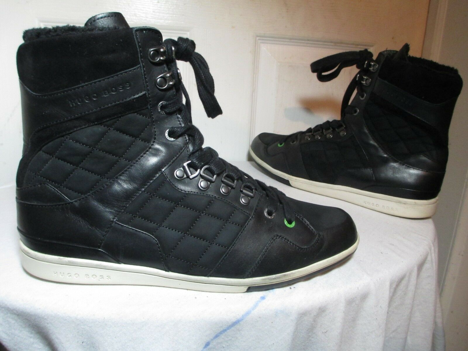 HUGO BOSS MEN'S schwarz QUILTED LEATHER FAUX FUR LINING HIGH TOP Turnschuhe 43 US 10