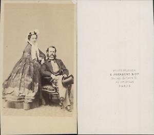 Penabert-Paris-Couple-en-pose-circa-1860-CDV-vintage-albumen-carte-de-visite