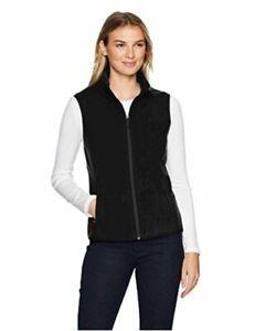 Essentials Women's Full-Zip Polar Fleece Vest, Black,, Black, Size Large