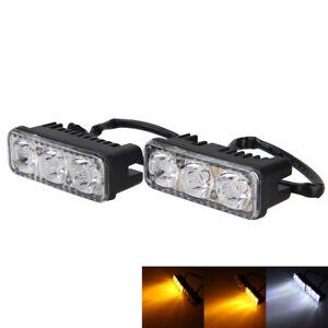 2x-LED-12V-Motorrad-Auto-High-Power-Weiss-DRL-Tagfahrlicht-amp-Amber-Blinker-Lampe