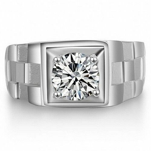 Men/'s Gorgeous Engagement Ring In 3.70Ct White Moissanite In 925 Sterling Silver