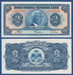 Discreet Haiti 2 Gourdes L.1919 Unc P.201 Papiergeld Welt