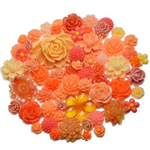 BROWN SET Resin Flatback Flower Rose Cabochon Craft Embellishments Decoden Gems