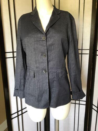 Piazza Sempione Jacket 42 Blue Wool/Linen Blazer W