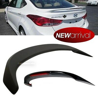 For: 11-16 Elantra Glossy Black Rear Tail Trunk Wing Spoiler With Red LED Light