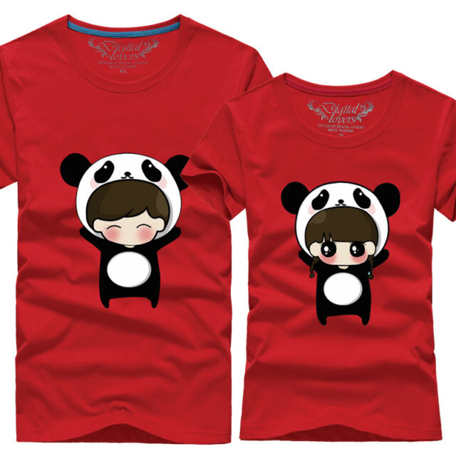Panda Lovers clothes for men and women couple t-shirt short-sleeved T-shirt