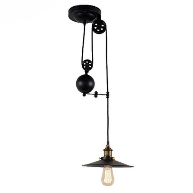 Retractable Hanging Light Vintage Loft Industrial Pendant Lights Adjustable W0N5