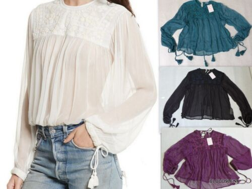 NWT FREE PEOPLE XS//S//M//L RETRO Sheer Embroidered Top with Tassel Ties 4 COLORS