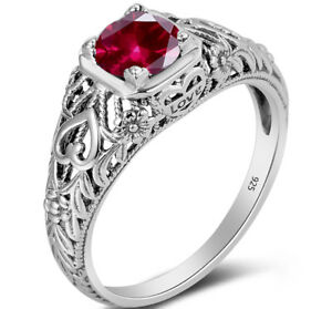 July-Birthstone-rings-925-Sterling-Silver-Ruby-Victorian-Edwardian-Gem-Jewelry