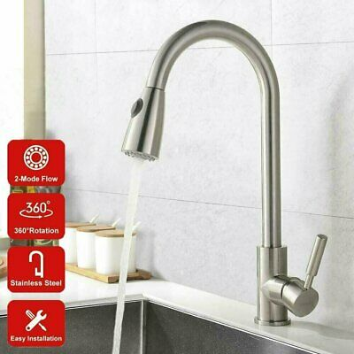 Pull Out Sprayer Kitchen Basin Sink Faucet Mixer Tap Nickel Brushed Single Hole