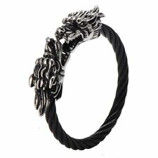 Mens Stainless Steel Dragon Head Twisted Cable Cuff Bangle Bracelet + Box #B244