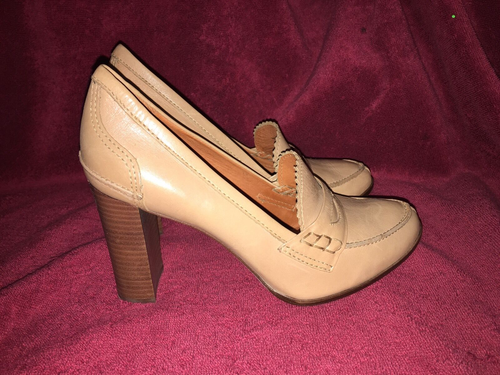 Pour La Victoire Beige Block Heel Loafer Shoes Size 8