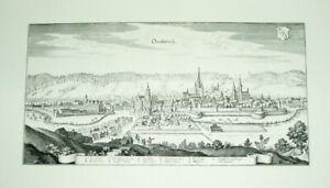 Ansbach-Onoltzbach-alte-Ansicht-um-1650-Merian-Druck-1945-Staedteansicht-Bayern