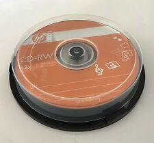 10 Pieces HP Logo 12X CD-RW CDRW ReWritable Blank Disc 700MB in Cake Box