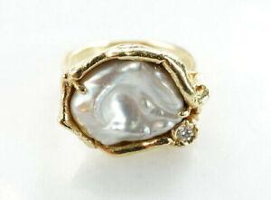 reizender-585er-Gold-Ring-mit-Mabe-Barockperle-14-Karat-Gelbgold-Brillant